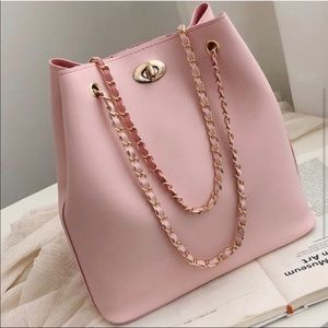 Handbags - Pink Vegan Leather with rose gold